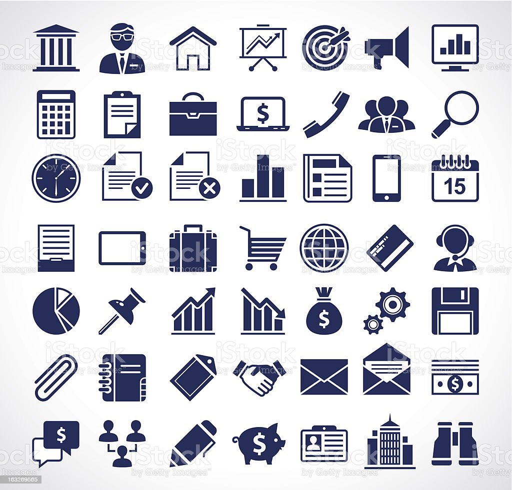 Simple business icons vector art illustration