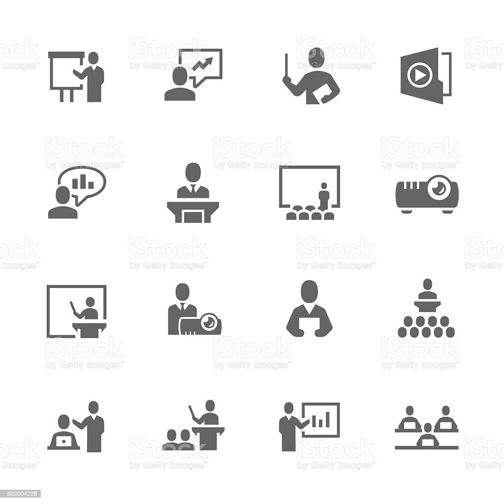 Simple Business Presentation Icons vector art illustration