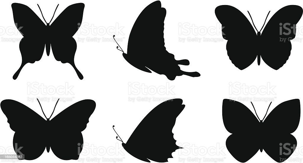 Simple butterfly shapes vector art illustration