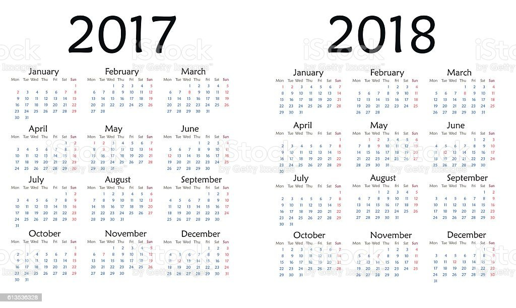 Simple calendar for 2017 and 2018 year vector. vector art illustration