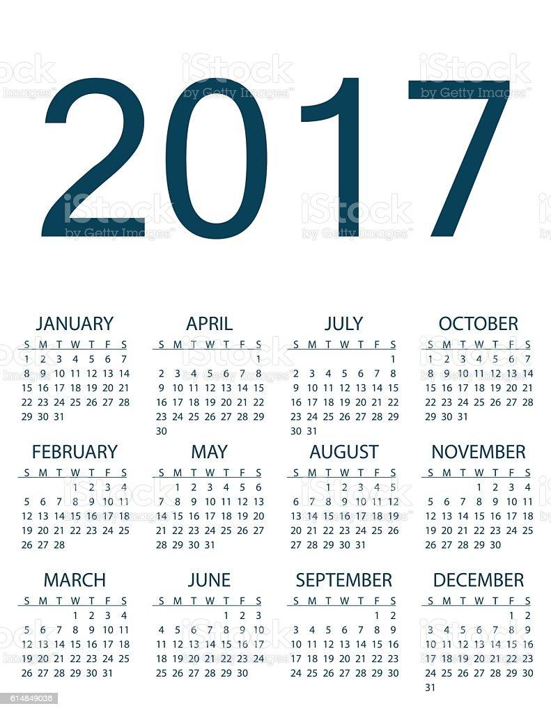 Simple calendar for 2017 year vector. vector art illustration
