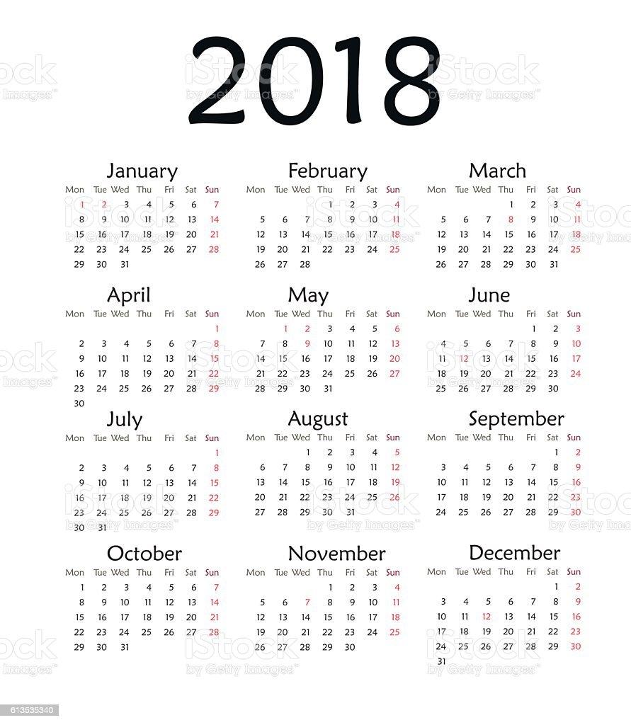 Simple calendar for 2018 year vector. vector art illustration