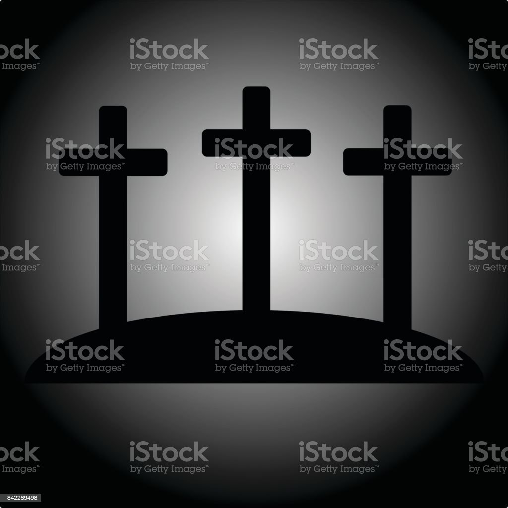 Simple calvary icon with three crosses vector art illustration