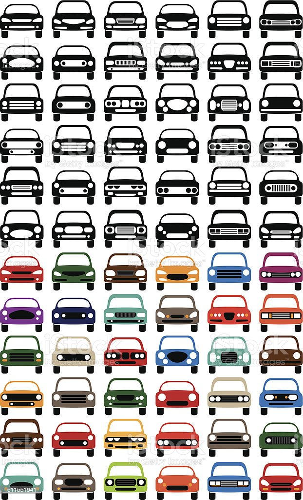Simple Car Icon Set vector art illustration