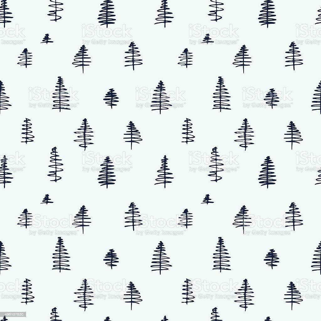 Simple cartoon seamless patterns with cute trees vector art illustration