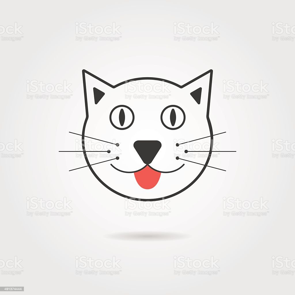 simple cat icon with shadow vector art illustration