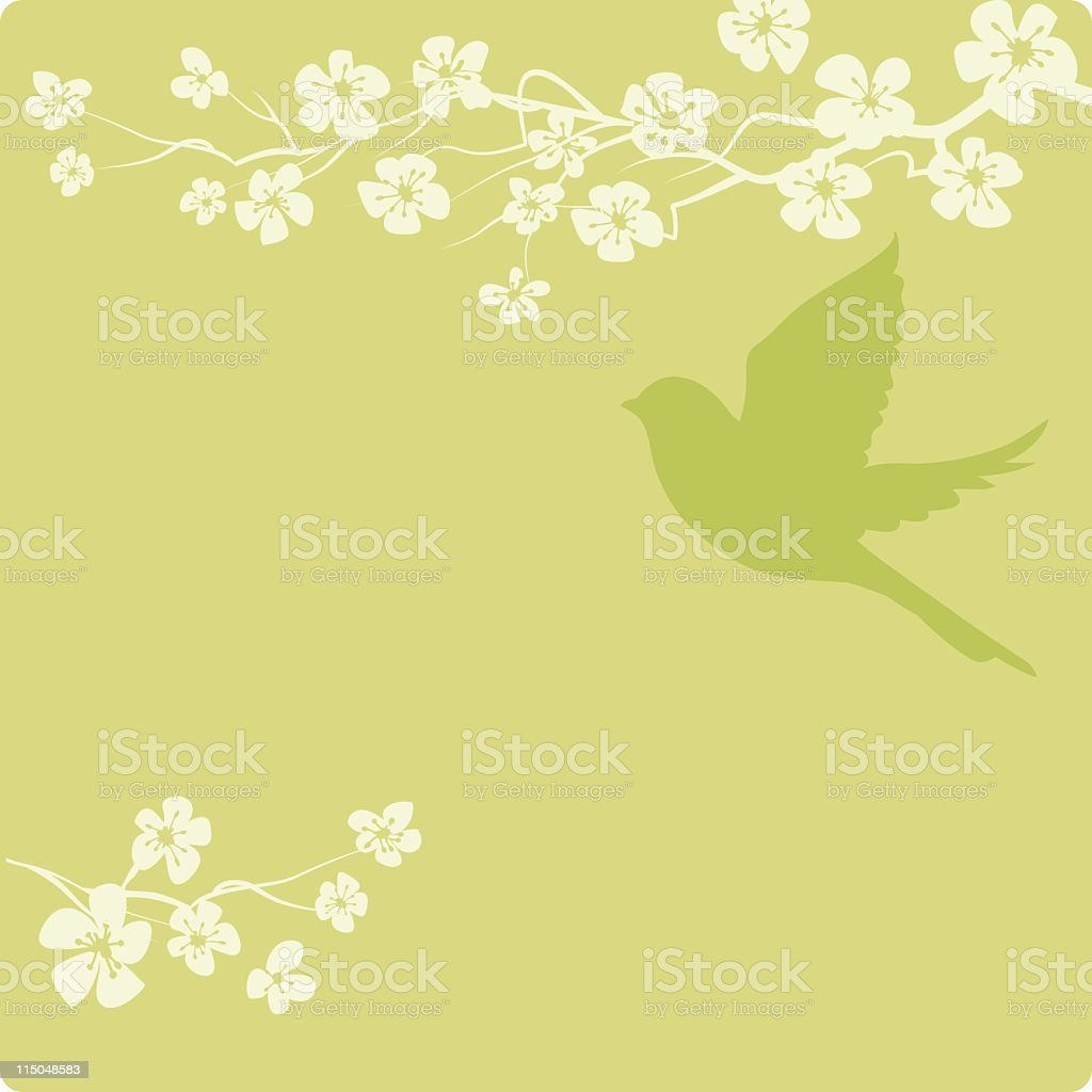 Simple Cherry Blossoms and a Bird Silhouette on Pastel Background royalty-free stock vector art