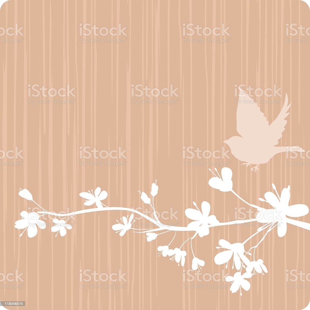 Simple Cherry Blossoms and a Bird royalty-free stock vector art