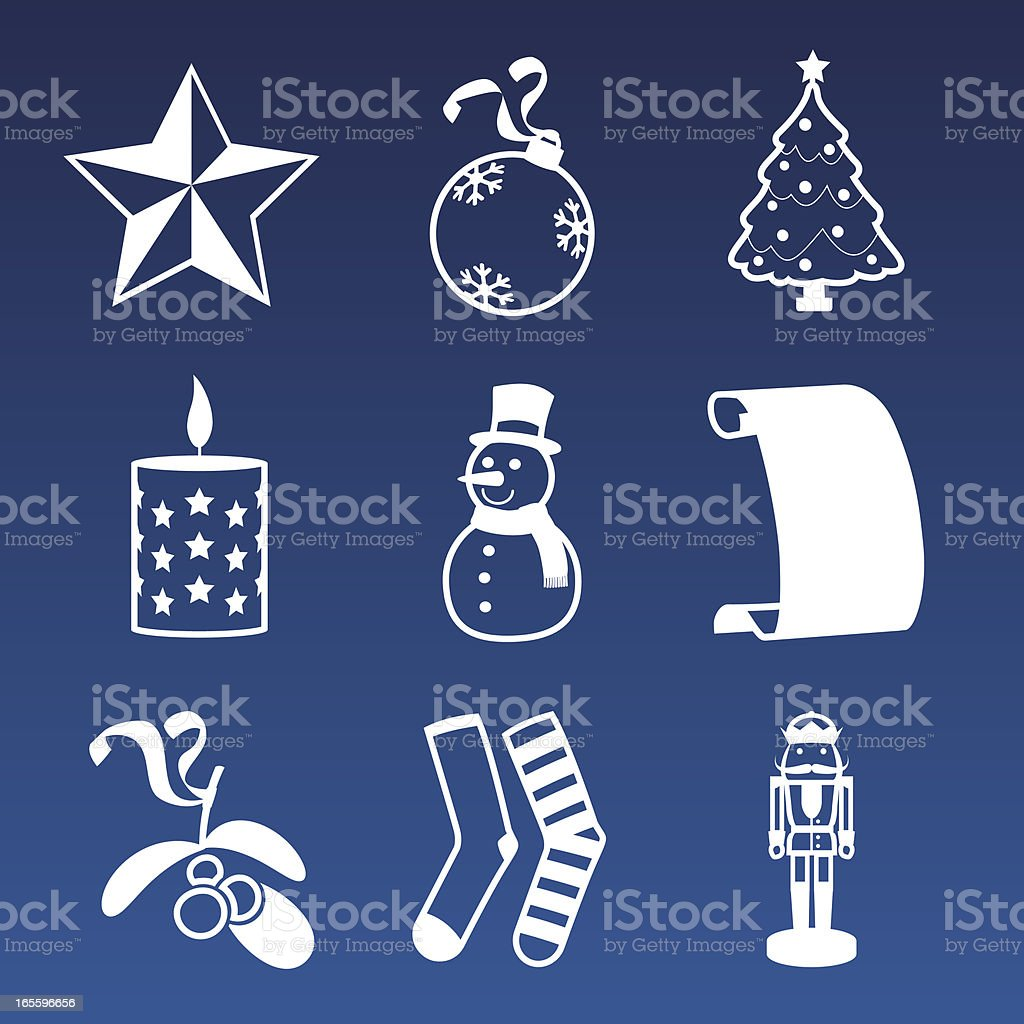 Simple Christmas Icon Set vector art illustration