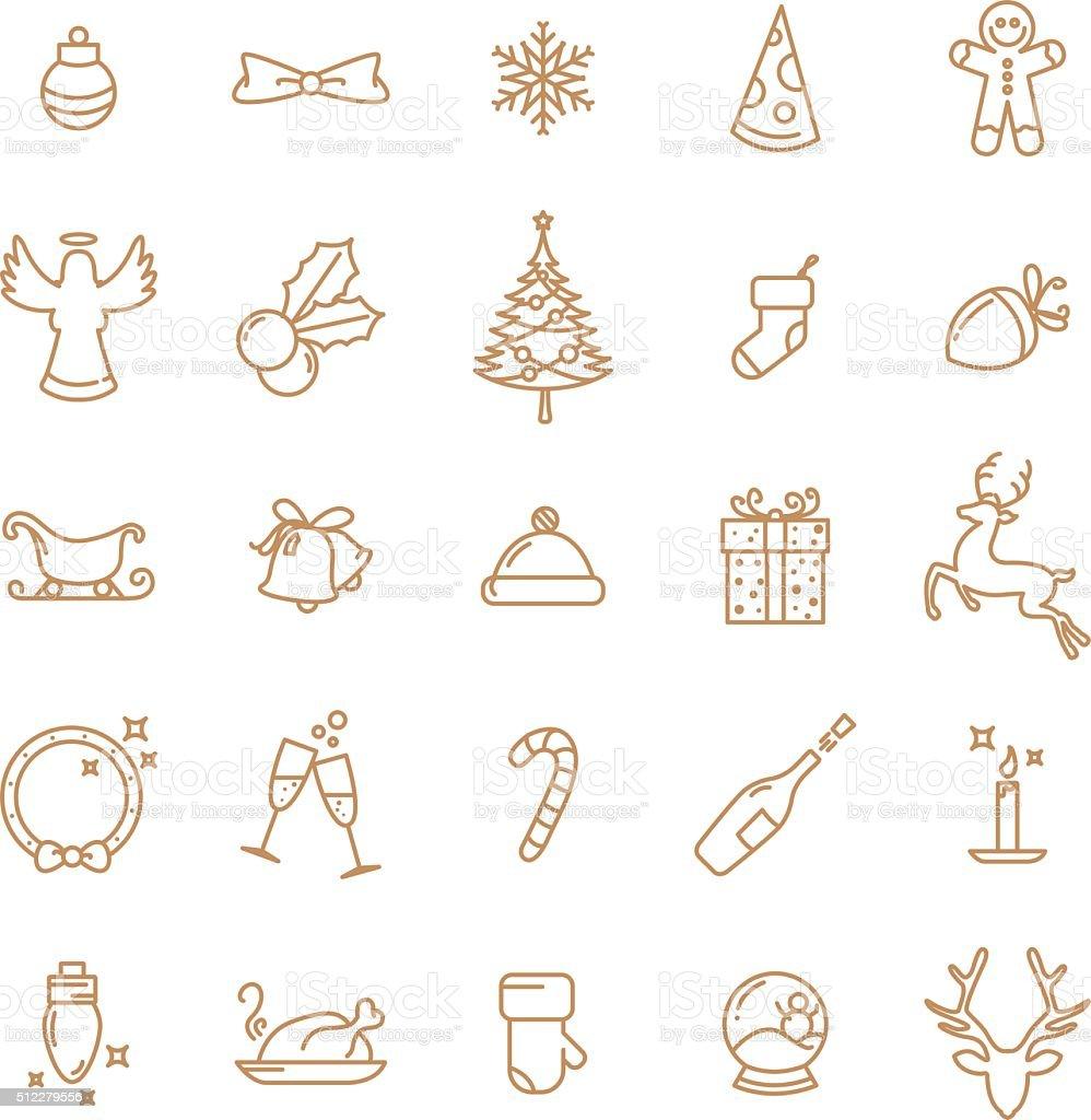 Simple Christmas lineart icons set vector art illustration