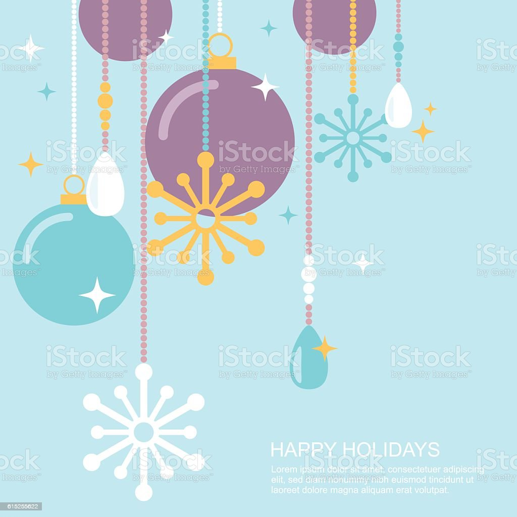 Simple christmas ornaments and snowflakes decorations flat vector illustration vector art illustration