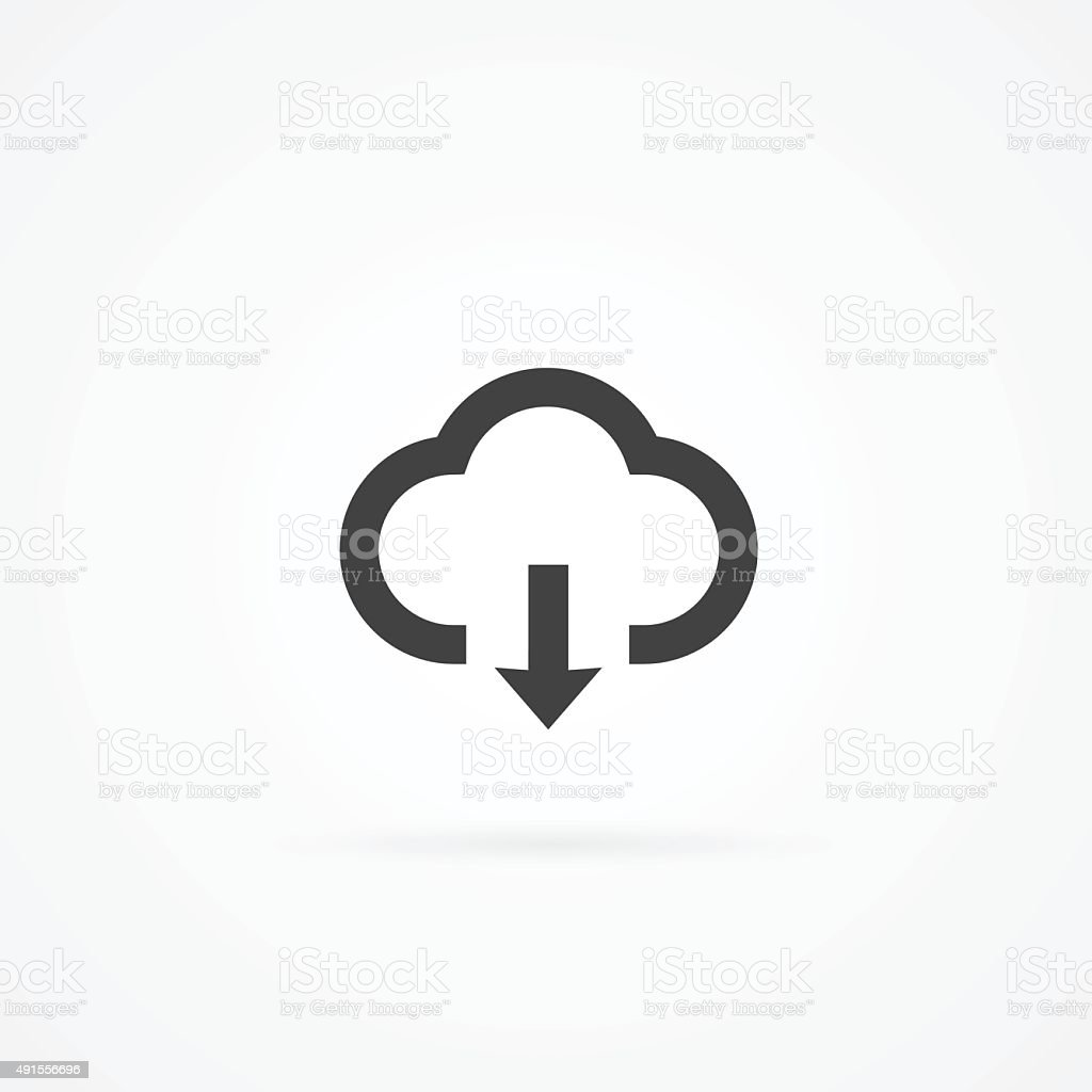 Simple cloud computing icon. Cloud and arrow. vector art illustration