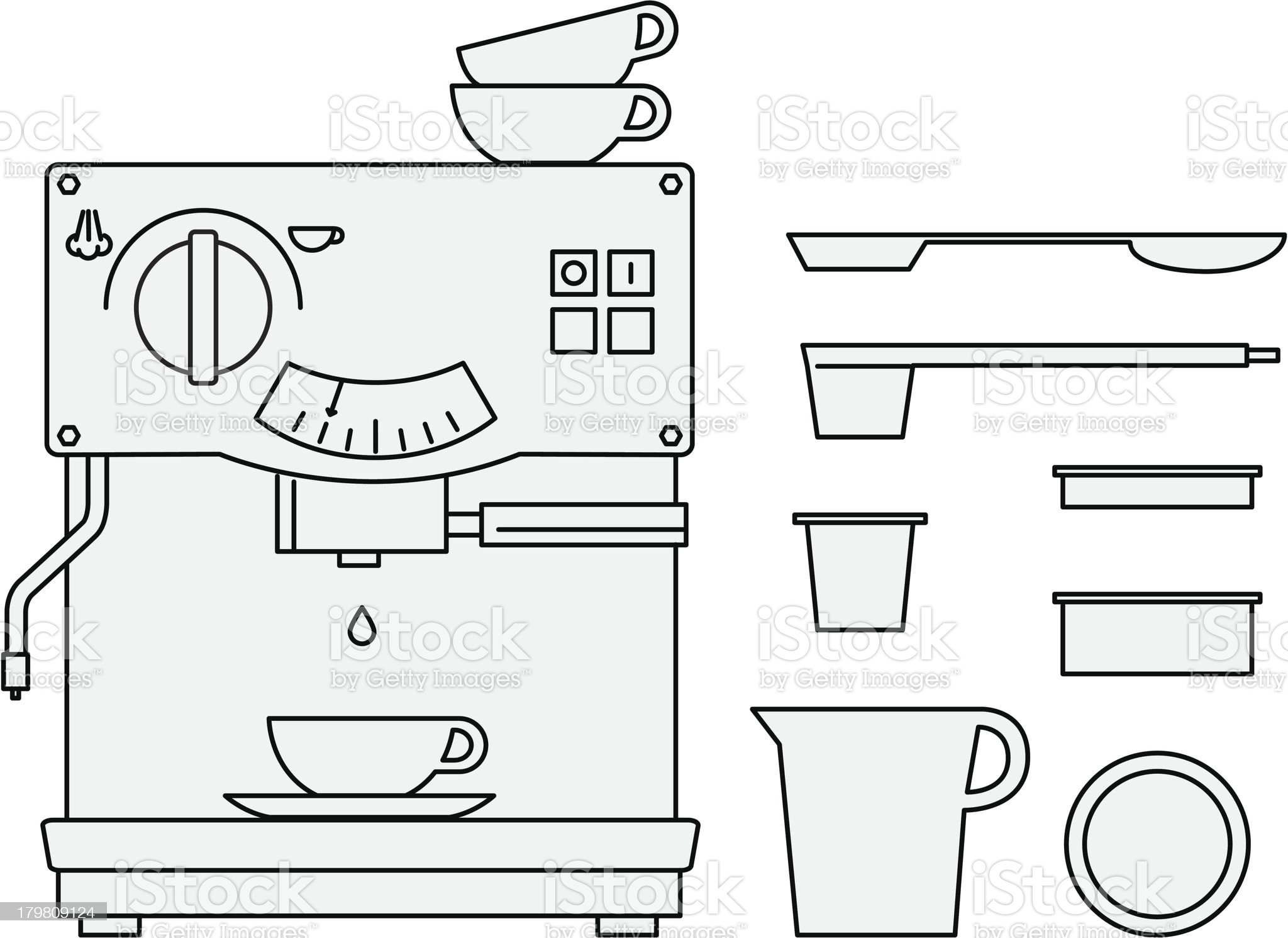 Simple coffee maker icons royalty-free stock vector art
