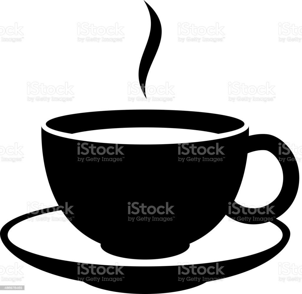 Simple coffee or tea cup icon. Black mug. vector art illustration