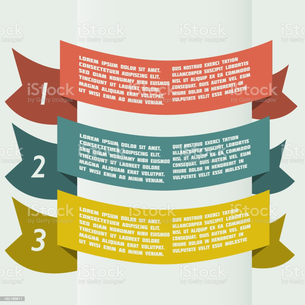 simple color infographics with bent banners royalty-free stock vector art