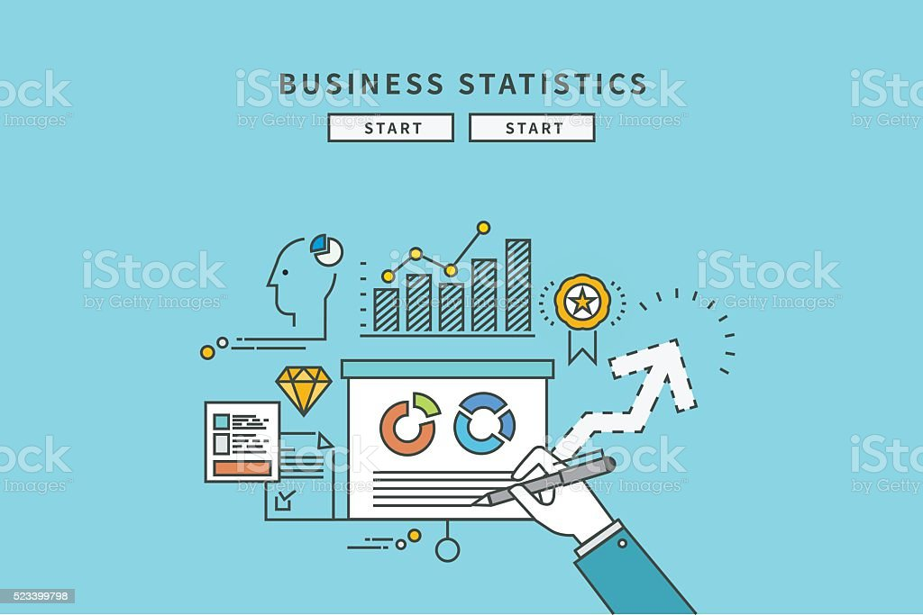 simple color line flat design of business statistics vector art illustration