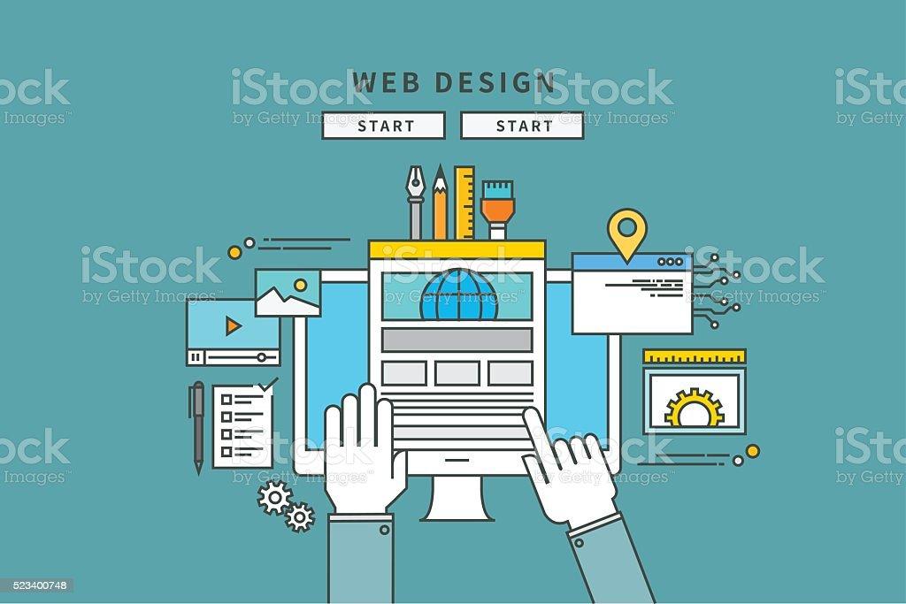 simple color line flat design of web design vector art illustration