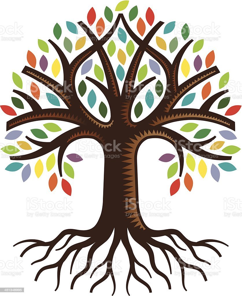 Simple colourful tree royalty-free stock vector art