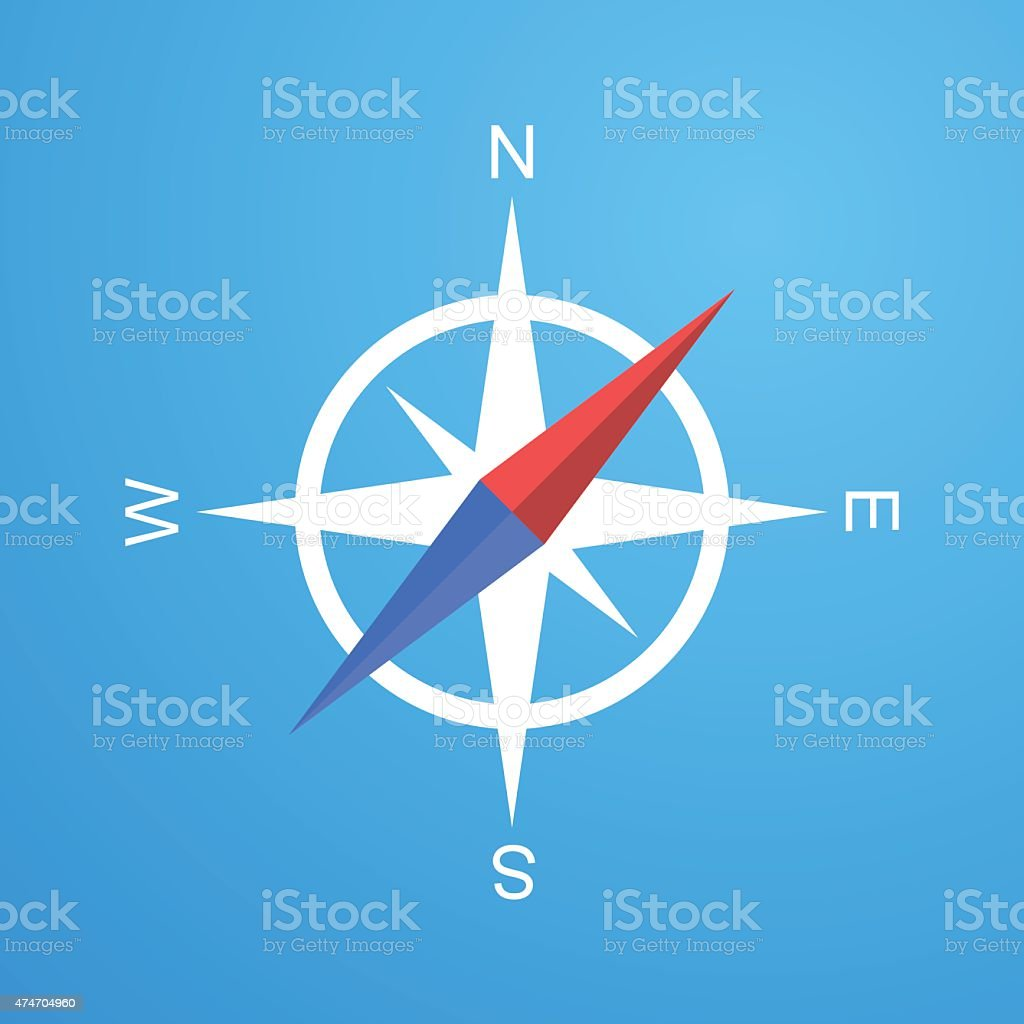 Simple compass icon vector art illustration