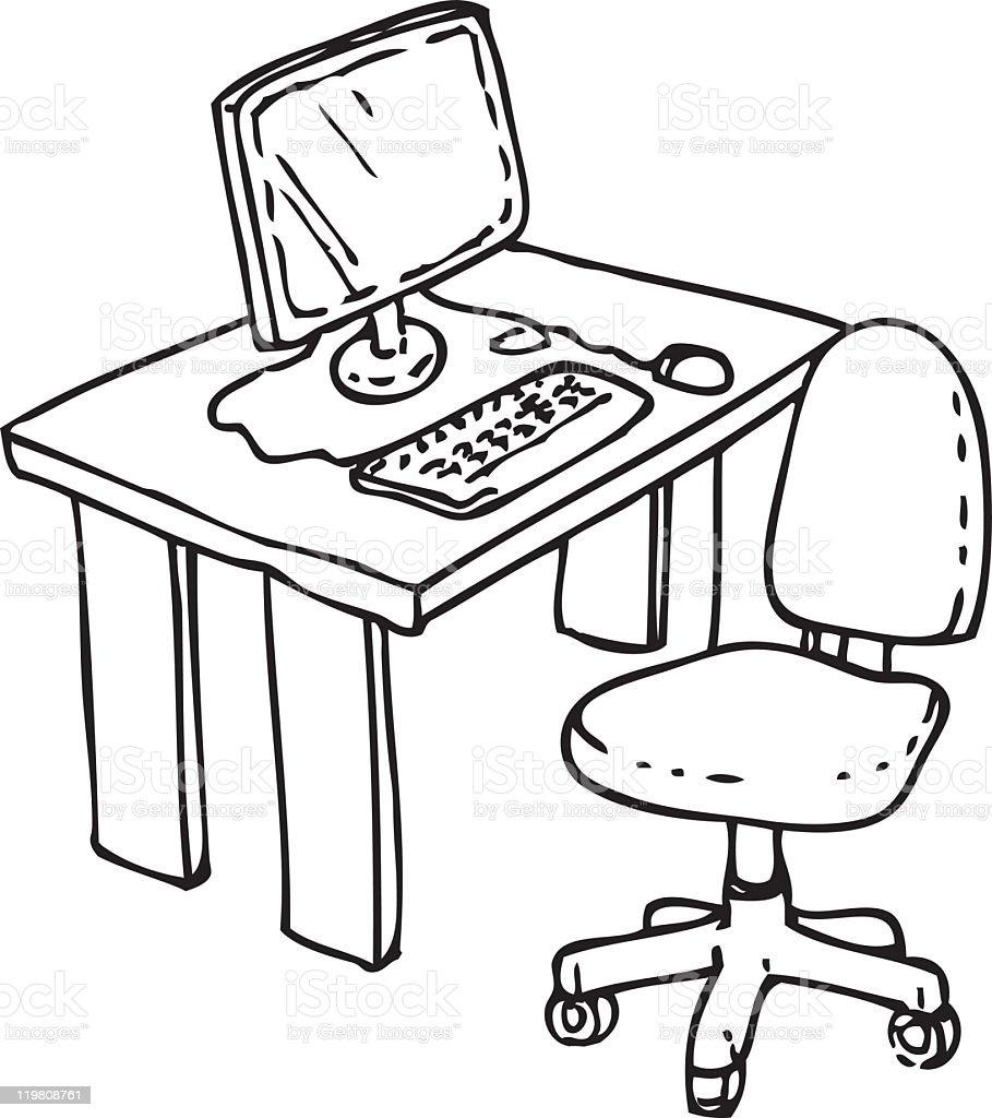 desk clipart black and white. black and white clip art computer desk clipart
