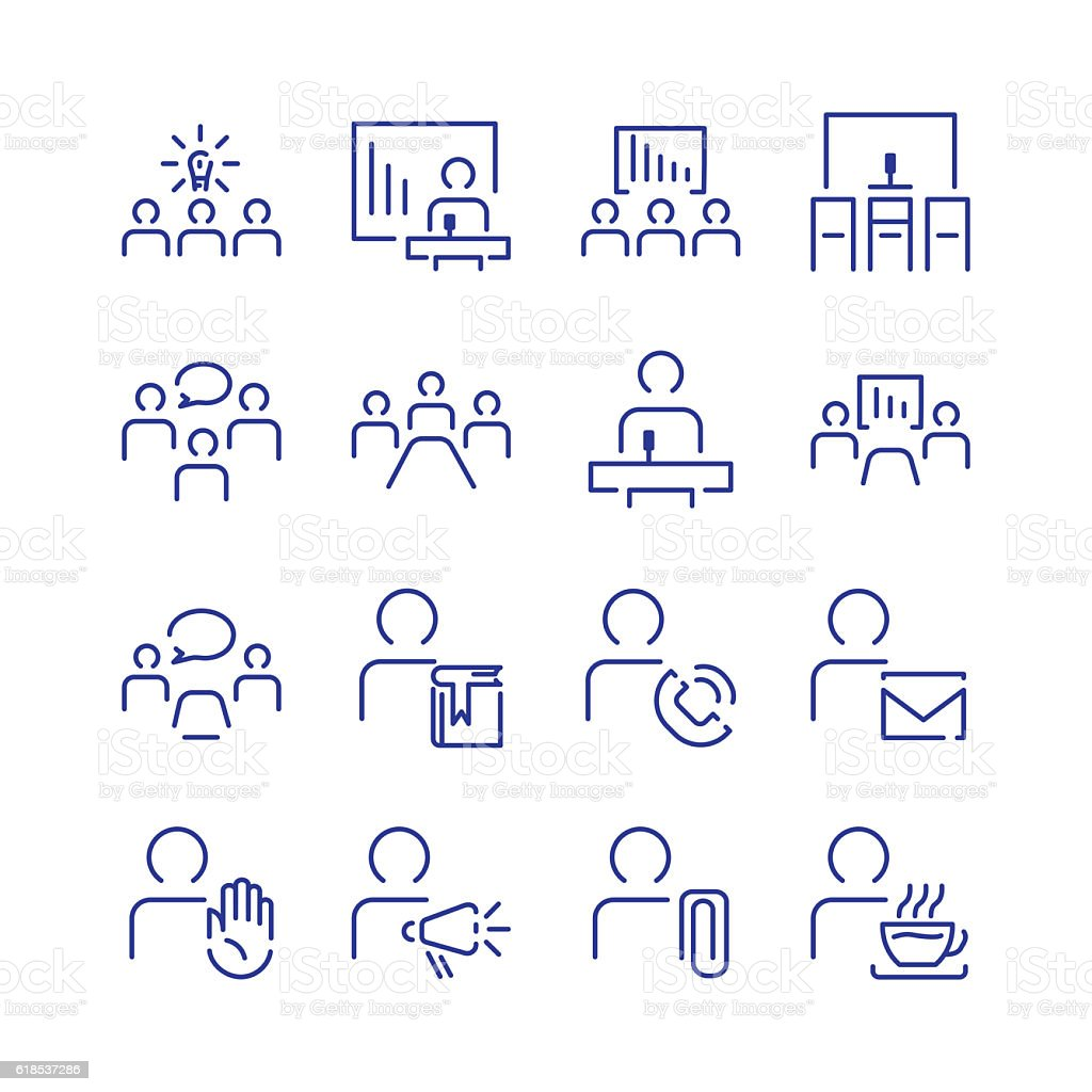 Simple conference icon set vector art illustration