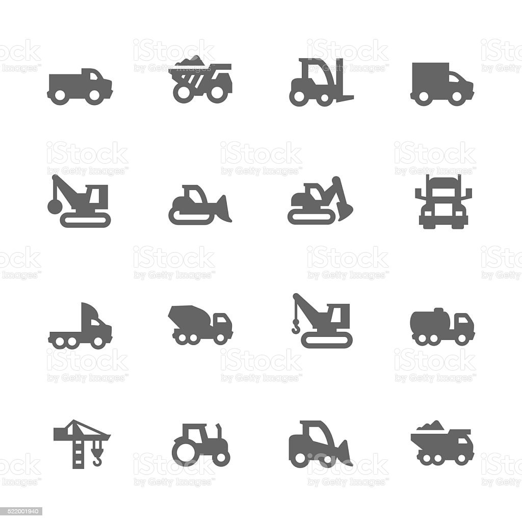 Simple Construction Vehicles Icons vector art illustration