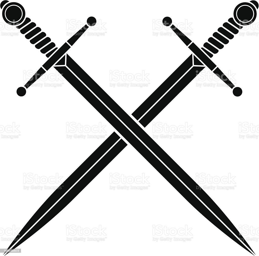 Simple crossed swords vector art illustration