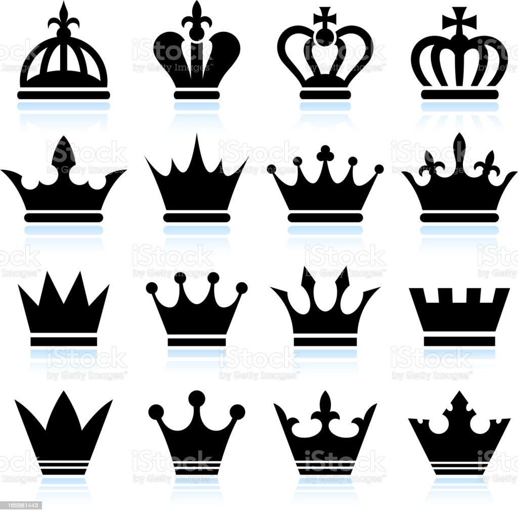 Simple Crowns black and white set vector art illustration