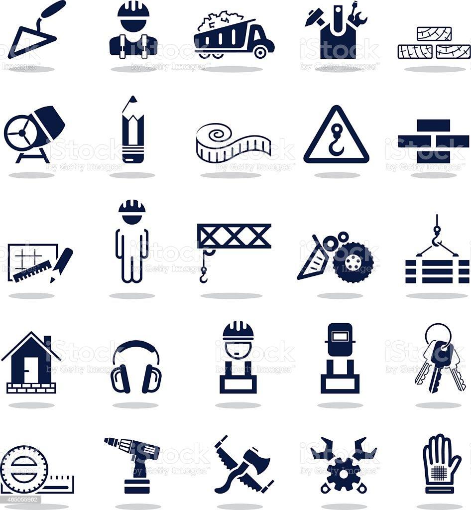 Simple dark blue icons – Construction vector art illustration