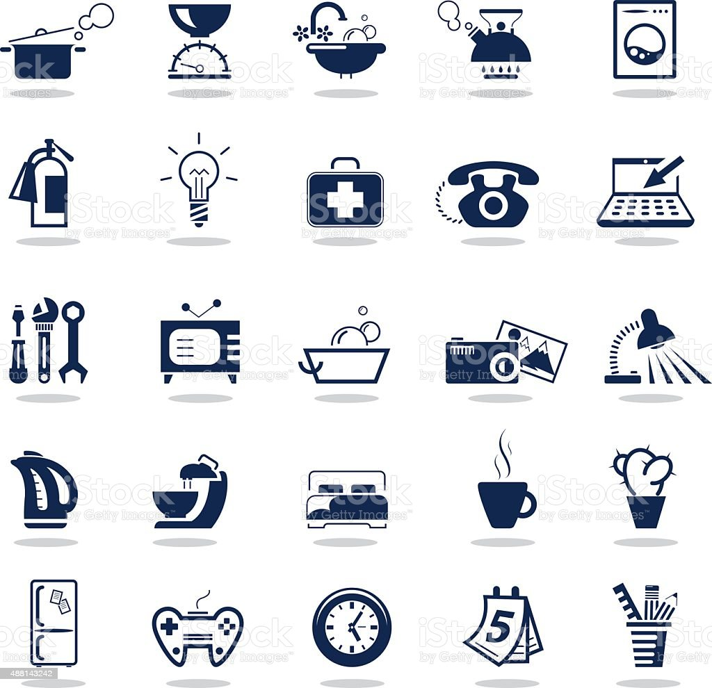 Simple dark blue icons – Home equipment vector art illustration