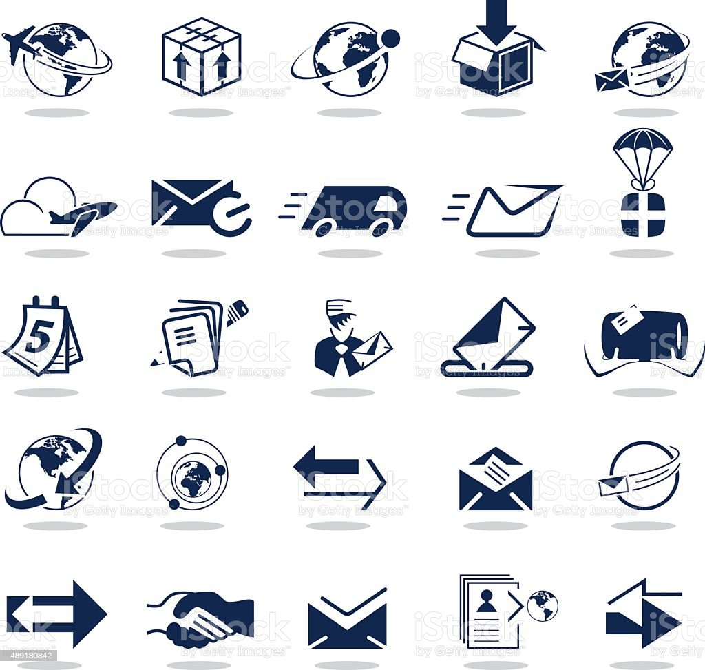 Simple dark blue icons – Mail & Delivery vector art illustration