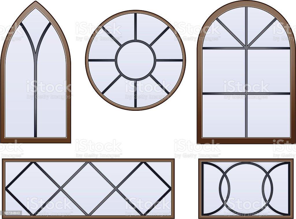 Simple decorative glass windows vector art illustration
