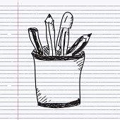 Simple doodle of a pencil pot