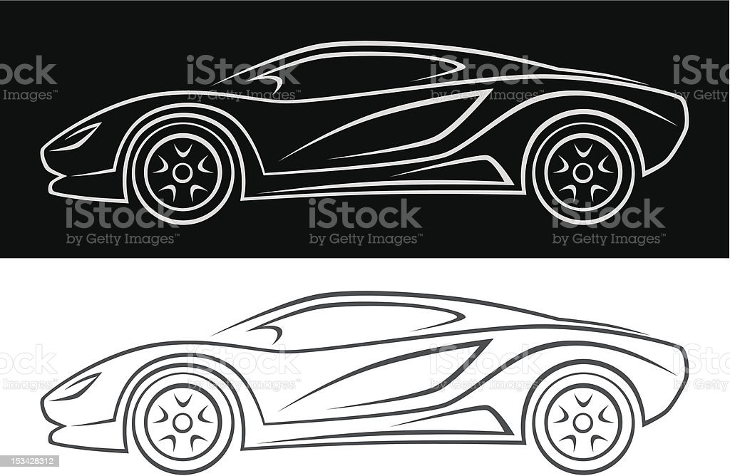 Simple drawing of a sport car in black and white royalty-free stock vector art