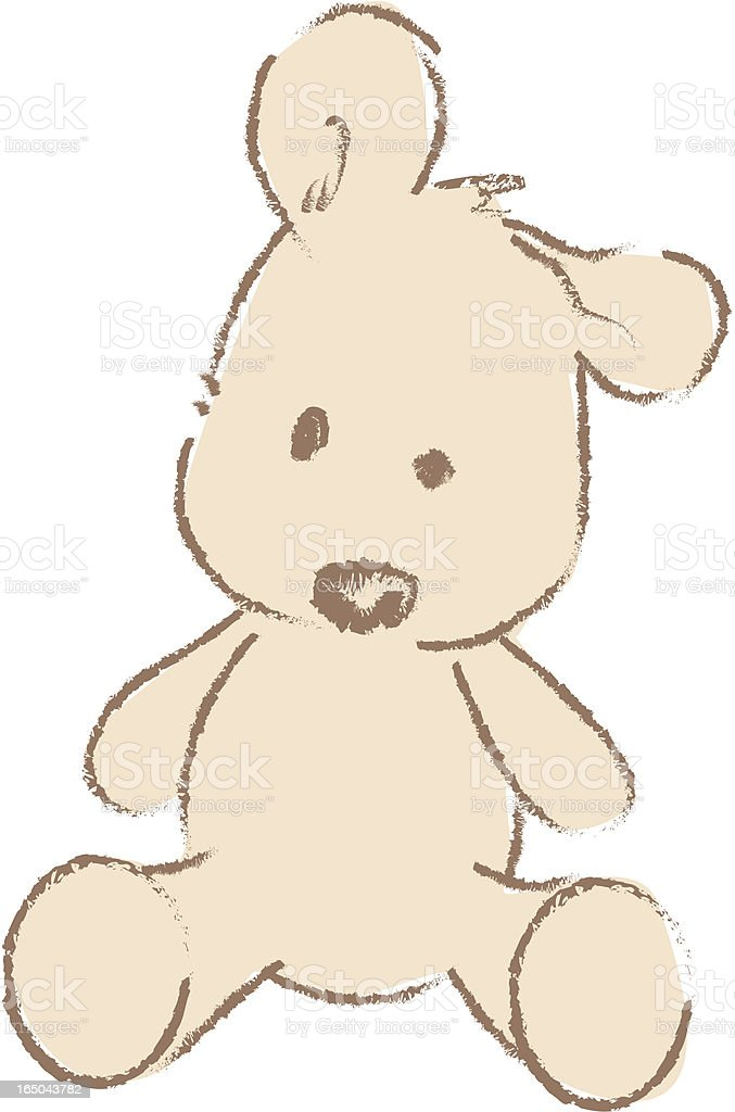 Simple drawing of brown teddy bear vector art illustration