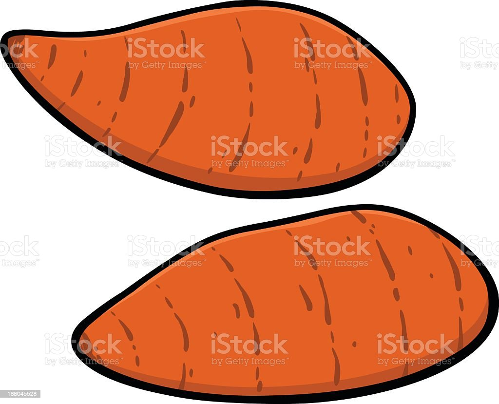 A simple drawing of two new sweet potatoes royalty-free stock vector art