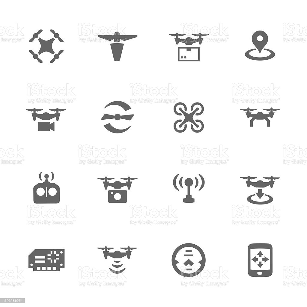 Simple Drone Icons vector art illustration