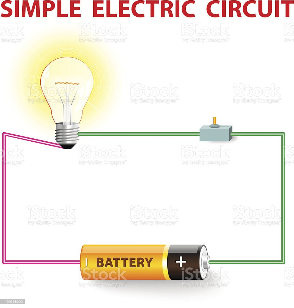 simple electric circuit vector art illustration