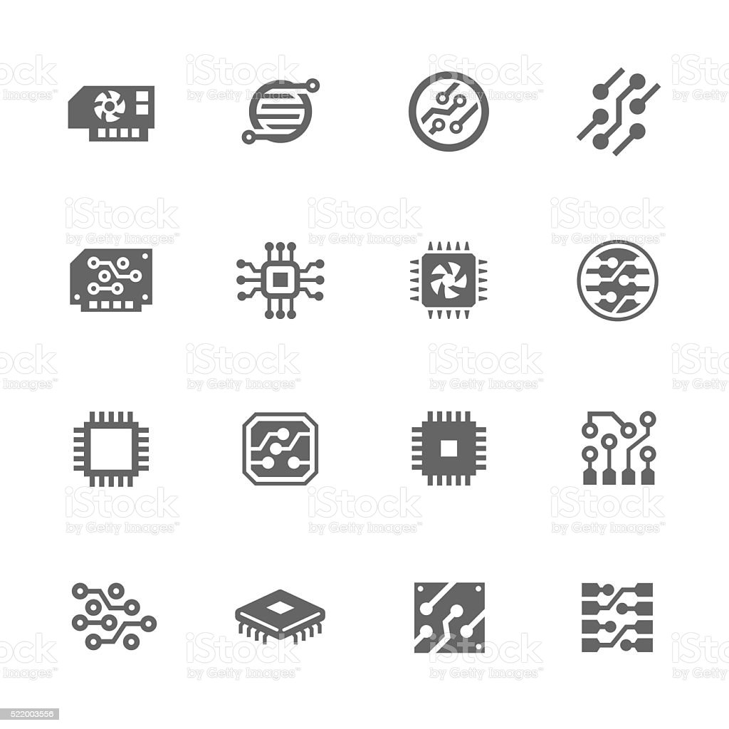 Simple Electronics icons vector art illustration