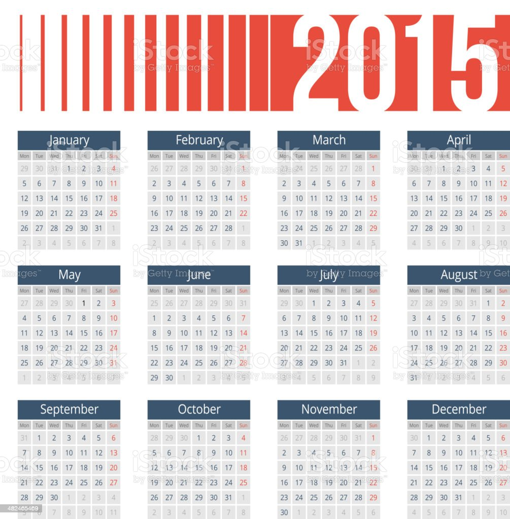 Simple european 2015 year vector calendar vector art illustration