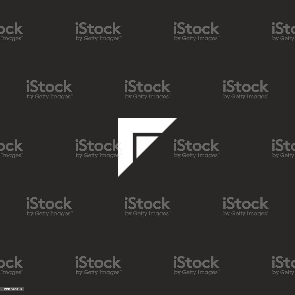 Simple F letter symbol, black and white two triangle geometric shape icon, creative idea typography design element business card emblem mockup vector art illustration