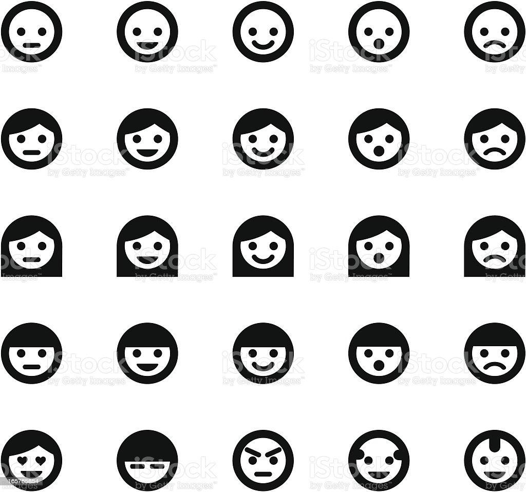 Simple Face Symbols vector art illustration