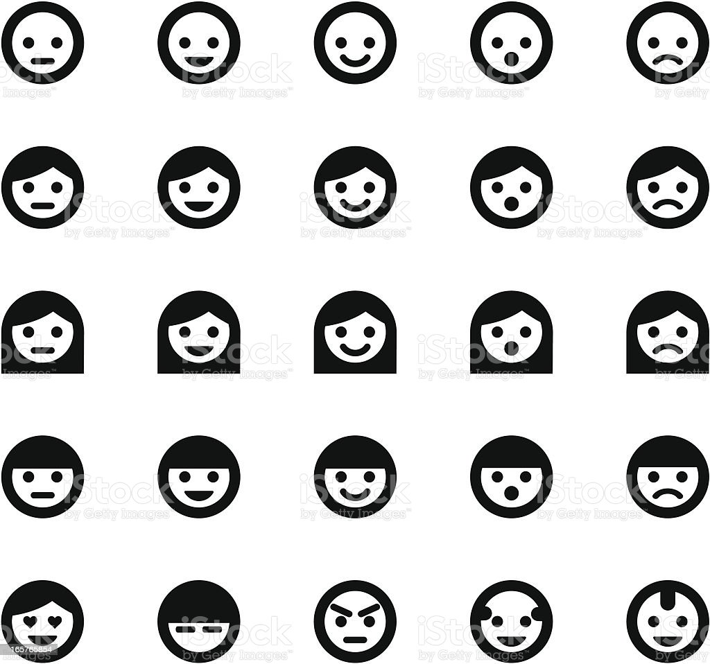 Simple Face Symbols vector art illustration