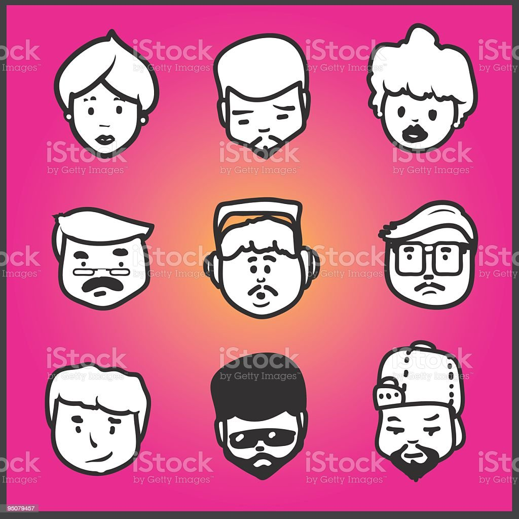 Simple faces royalty-free stock vector art
