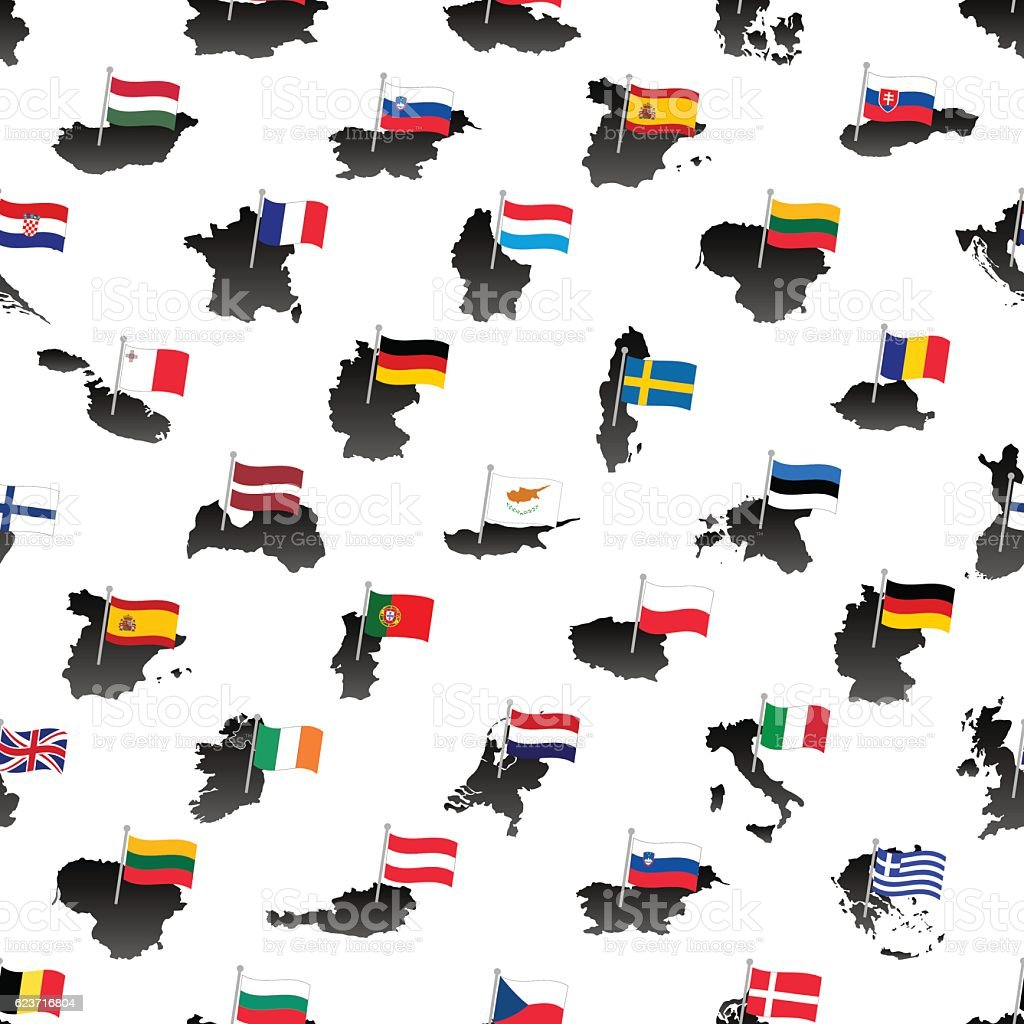 simple flags all european union countries on maps seamless pattern vector art illustration