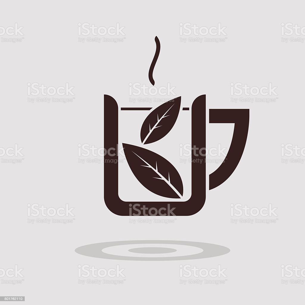Simple flat tea cup icon vector art illustration