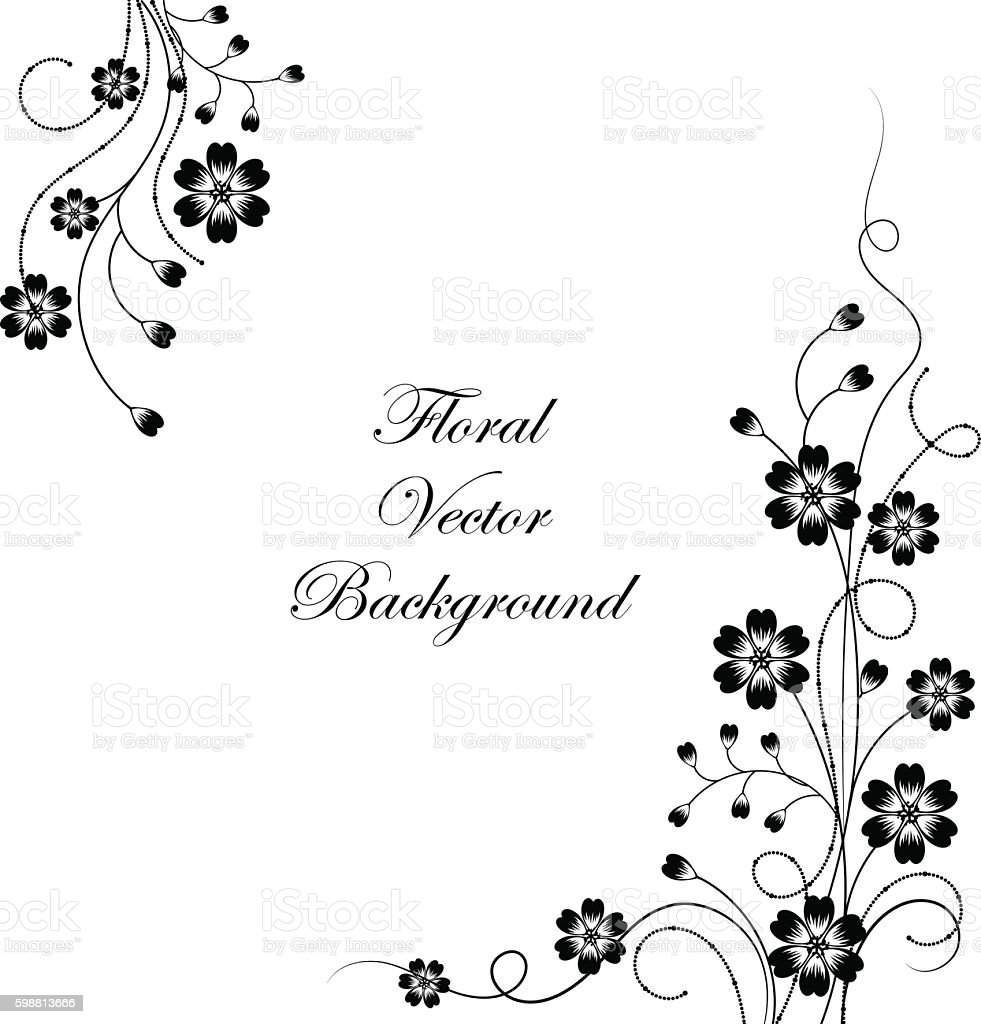 Simple floral background in black and white vector art illustration