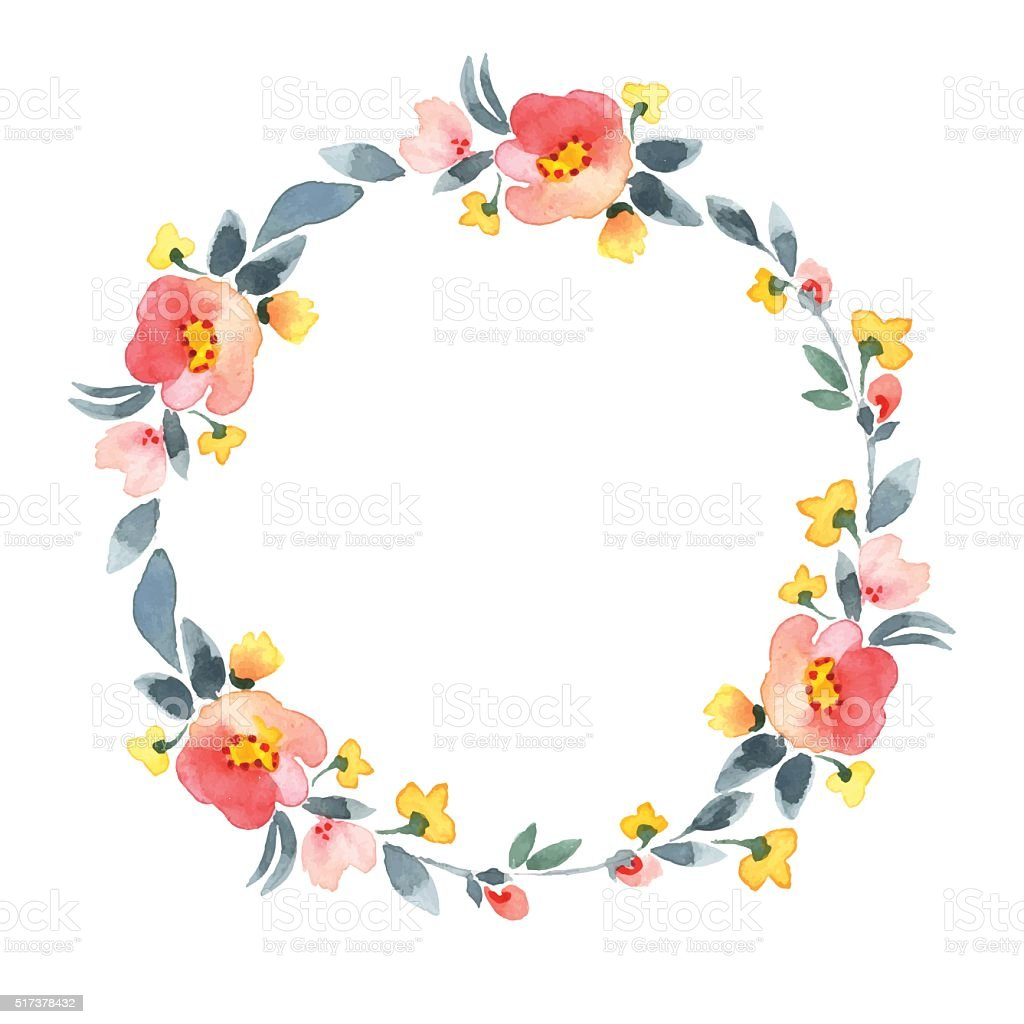 Simple Floral Wreath Watercolor Vector Flowers 2 stock ...