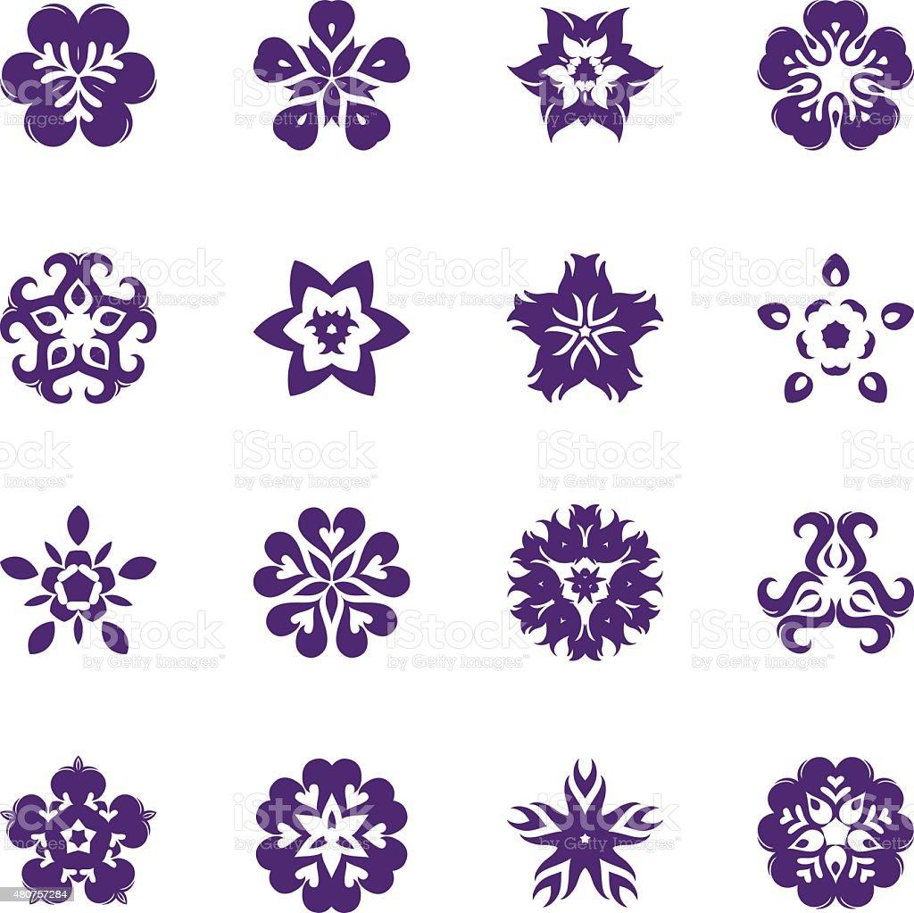 Simple Flower Icon Set vector art illustration