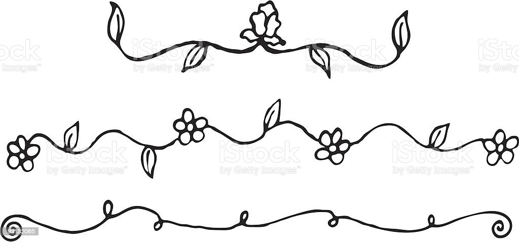 Flower Vine Line Drawing : Simple flower vines stock vector art istock